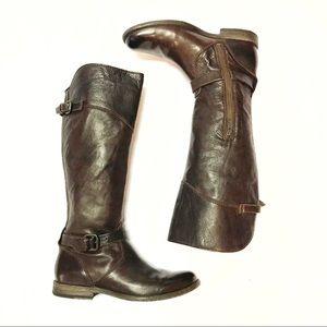 Frye Phillip Dark Brown Buckle Riding Boots Sz 8.5